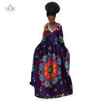БРВ Африканский платье для женщин летние длинные рукава Винтаж Макси Дашики Базен Riche халат Longue роковой v-образным вырезом платье плюс размер WY532