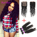 7A Deep Wave Brazilian Hair with Closure Unprocessed Brazilian Virgin Curly Hair with Closure Brazilian Curly Weave Human Hair