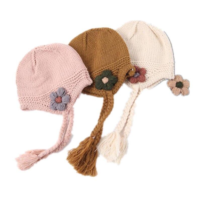baby girls knit cap kids Beanies Little flower braid baby ...
