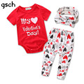 GSCH First Valentine's Day Outfit My 1st Valentines Day Girl Coming home outfit 3pcs(Bodysuit+Legging+Headband) ensemble bebes