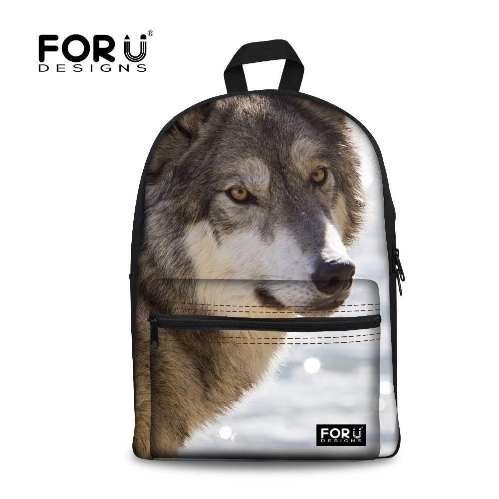 FORUDESIGNS Wolf Printing Backpack for Teenager Boys Children School Backpacks Women School Bag Students Kids Bagpack Female one2 design colorful 600d polyester school bag laptop backpack ice cream for university students women man teenager boys girls
