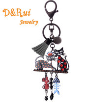Enamel Zinc Alloy Key Chain For Women Lovers Cute Pets Cat Fish Bone Keychain Charm Metal Key Ring On Bag Trendy Accessories Hot retro us dollar money bag style zinc alloy key ring bronze