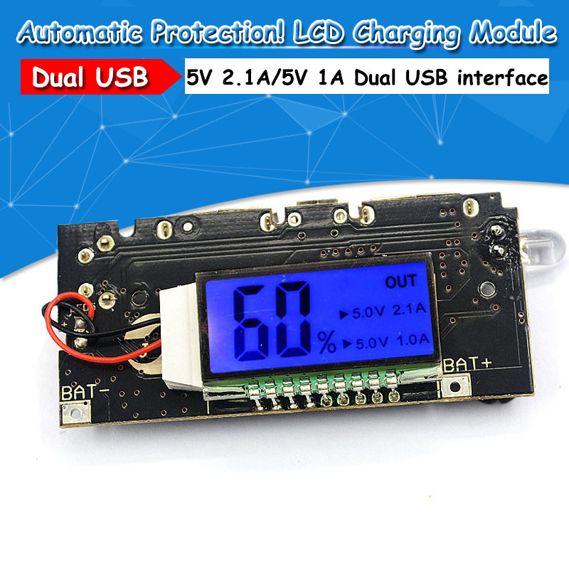 Automatic Protection! Dual USB 5V 1A 2.1A Mobile Power Bank 18650 Lithium Battery Charger Board Digital LCD Charging ModuleAutomatic Protection! Dual USB 5V 1A 2.1A Mobile Power Bank 18650 Lithium Battery Charger Board Digital LCD Charging Module