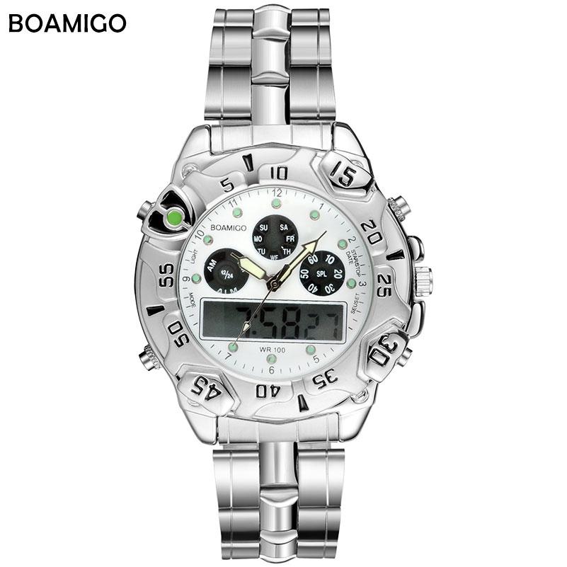 <font><b>LED</b></font> Analog Quartz Watch Men Sport Watches Dual Display Digital Watches Stainless Steel Band Gift Wristwatches 2018 Reloj Hombre