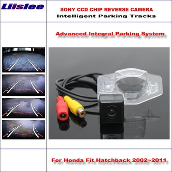 Liislee Intelligentized Reversing Camera For Honda Fit Hatchback / Insight / Jazz Rear View Back Up Dynamic Guidance Tracks
