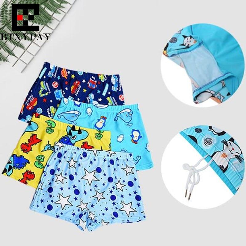 200p Top Cute Cartoon Pattern Print Children Boxer Trunks Swimwear Fashion Boy&Girl Quick-drying Beach Hot Springs Board Shorts