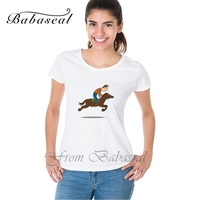 Babaseal Fashion Print Female Shirts Batwing Funny Horse Riding Tee Plus Size Designer Kawaii Tshirt Fashion