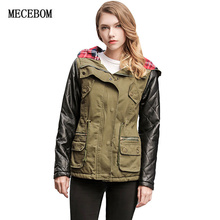 MECEBOM 2017 New Fashion Autumn Warm Winter Leather cuff Jackets Women Fur Collar Parka Plus Size Hoodies Casual Cotton Outwear