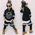2017 New fashion Spring BOY printing children's clothing set streetwear Costumes kids sport suit Hip Hop harem pants & sweatshir