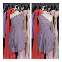 2015 New Style One Shoulder Simple Elegant Pleated Chiffon Knee Length purple Color Bridesmaid Dresess Plus SIze(BC051)