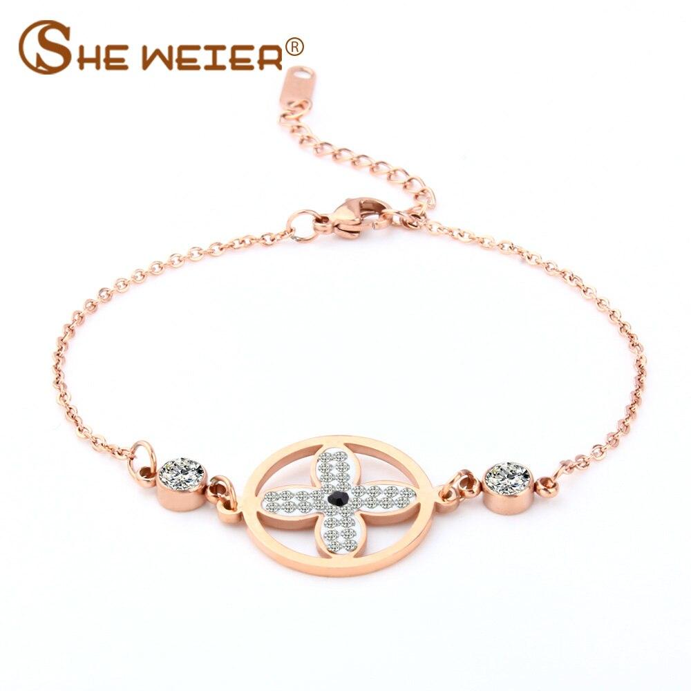 SHE WEIER charms stainless steel bracelets & bangles female chain link bracelet women gifts for women friendship braslet