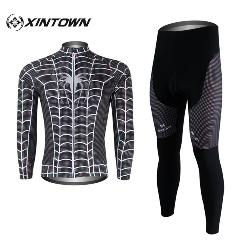 XINTOWN Spiderman Gray Jersey Outdoor Sports Male Cycling Clothing Maillot Ropa Ciclismo Long Sleeve Bib Bike Wear Pant Sets xintown 2018 cycling jersey clothing set summer outdoor sport cycling jersey set sports wear short sleeve jersey bib shorts sets