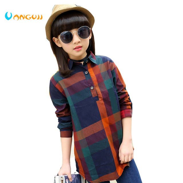 ea86d1ed4 2017 Spring and Autumn Hot Fashion Children's Shirt 4-11-year-old cotton  long pattern plaid Slim girl shirt blouses for girls
