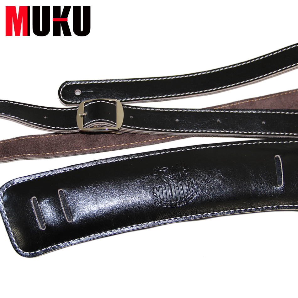 Soldier Acoustic Folk & Classical Guitar Straps Black Shoulder Padding Genuine Leather Rockabilly Bass Belt up to 61 long amumu traditional weaving patterns cotton guitar strap for classical acoustic folk guitar guitar belt s113