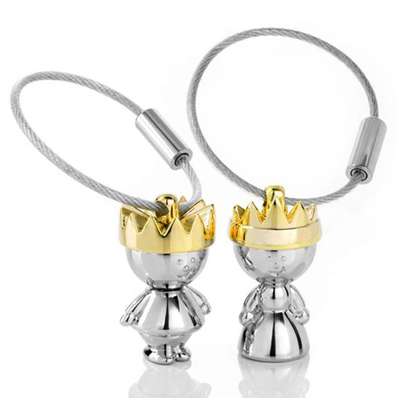 1 Pair Couple King Queen Lover Key Chain Keychain Metal Car Purse Key Chains Key Rings Jewelry Gifts For Kids Friends