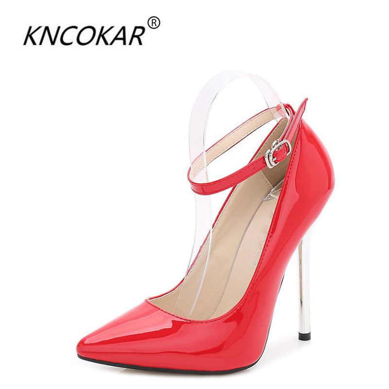KNCOKAR 2018 vrouwen nieuwe mode ultra hoge hak 13 cm gegalvaniseerde metalen sexy extra grote maat high single- hakken schoenen