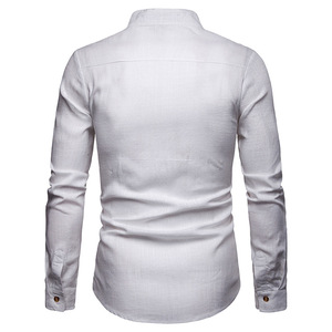Image 2 - Męskie Pure White 100% koszula lniana stójka z długim rękawem męskie ubranie koszule Casual do pracy Plus rozmiar koszulka Homme topy