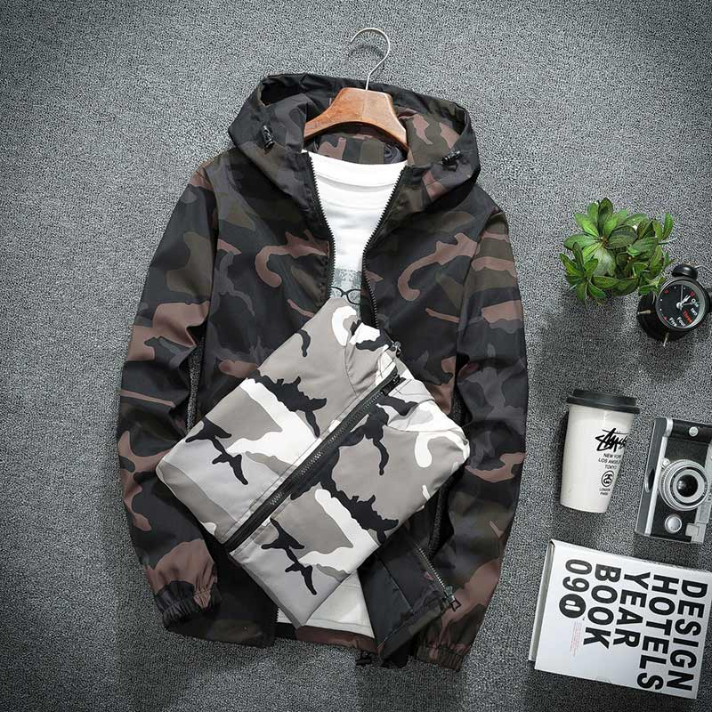 Brieuces new Spring Autumn Mens Casual Camouflage Hoodie Jacket Men Waterproof Clothes Windbreaker Coat Male Outwear