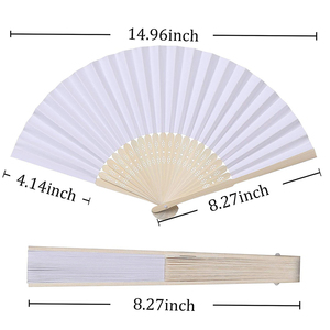 Image 2 - 50pcs/lot White Bamboo Folding Paper Hand Pocket Fan Chinese Fan Wedding Favors Birthday Gifts Party Decoration Home Decor 21cm