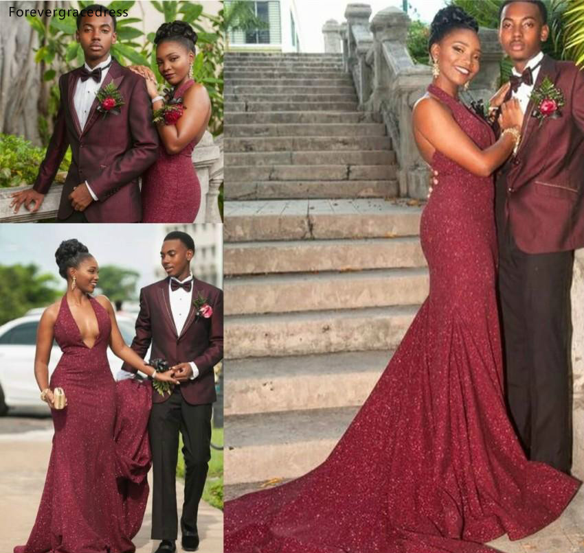 Cheap Burgundy   Prom     Dress   2019 Latest African Black Girls Red Carpet Holidays Graduation Wear Evening Party Gown Plus Size