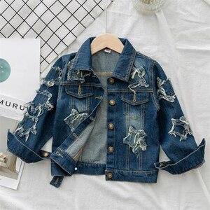 Image 1 - Benemaker kinder Windjacke Einhorn Jeans Jacken Für Mädchen Baby Mäntel Denim Kleidung Stickerei 4 14Y Kinder Oberbekleidung YJ083