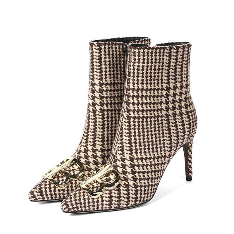 6e4b4c686 ... Curvaness Women's Shoes Boots Autumn New Booties Metal Double B  pPointed Short Tube Stiletto High Heel ...