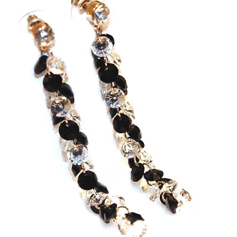 Classic White Black Crystal Long Earrings For Women 2019 Fashion Jewelry Wholesale Bijoux Femme Party Accessories Fine Gifts