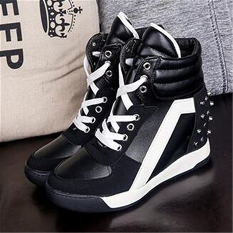 DIWEINI Women Wedge Platform Rubber Brogue Leather Lace Up High Heel Shoes Pointed Toe Increasing Creepers White Black Sneakers