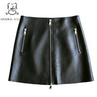 Autumn Genuine leather skirts women sexy black zipper Package hip OL office sheepskin real leather female short A line skirt