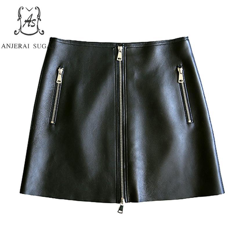 Ol Negro Oveja Sexy Cadera Línea Falda Una Cuero Oficina Real Genuino Faldas Mujeres Otoño De Cremallera Corto Paquetes Femenino qXzPxwgC