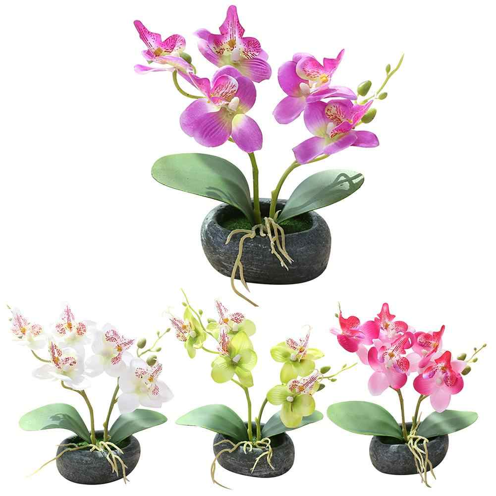 35# Realistic Artificial Butterfly Orchid Bonsai Cement Pot Fake Flower Simulation Home Office Decor Artificial Bonsai