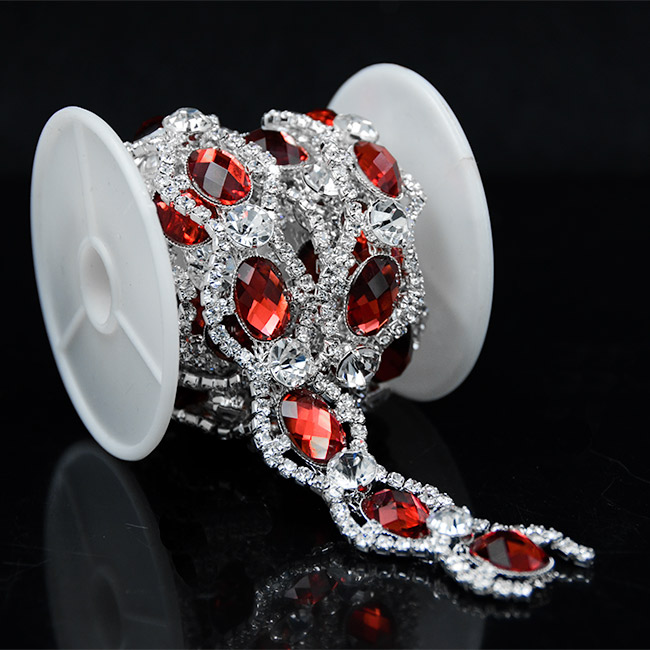 10Yards Golden Sparkling Clear Golden Rhinestone Red Crystal Trims Costume Gold Trimming