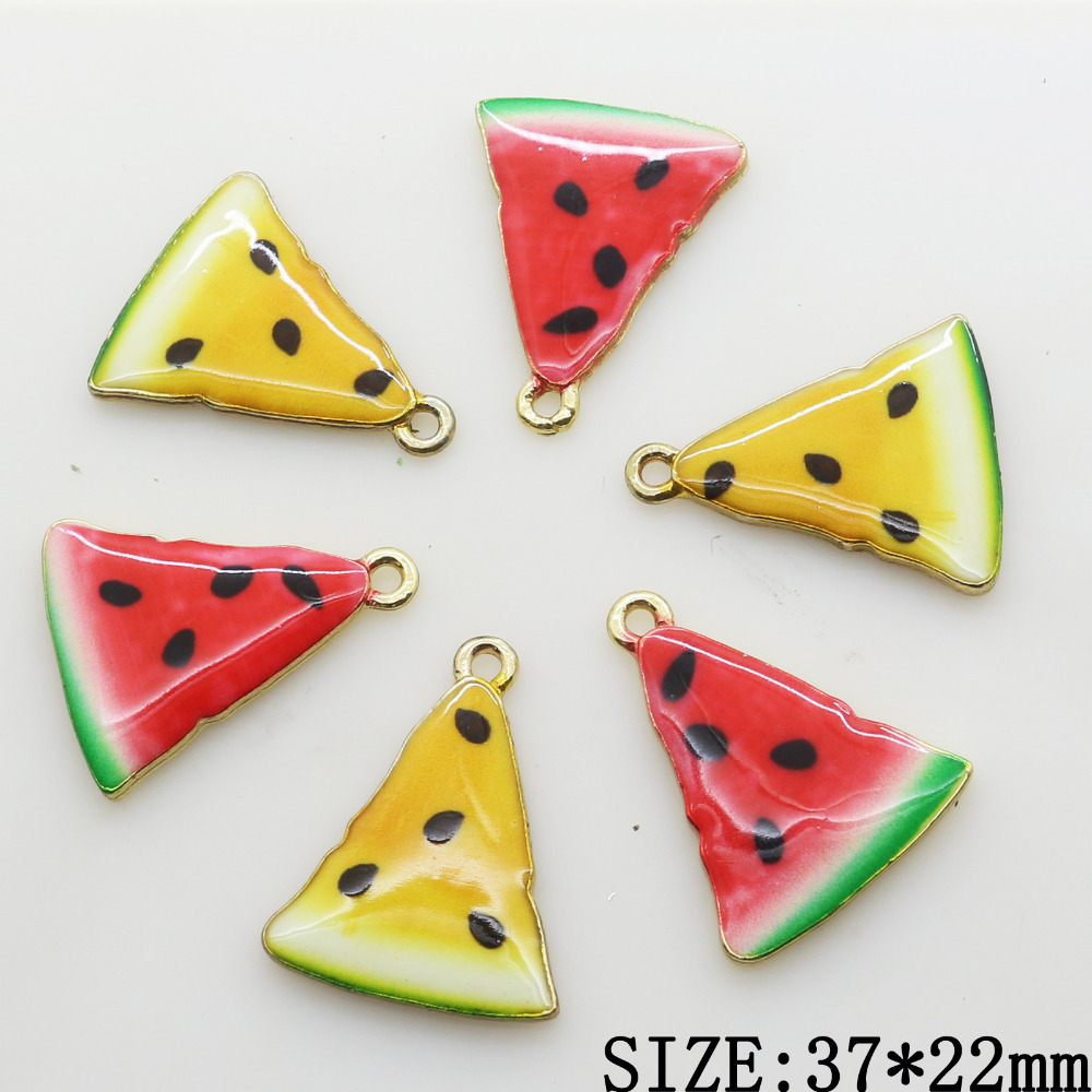 10pcs 37*22MM 2 Colors Watermelon Metal Crystal Beads Jewelry Accessories/Component for Chain Decoration Wholesale Supply