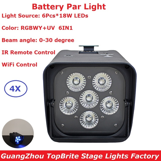 Carton Package 6X18W Indoor Wireless Battery Par Cans RGBWY+UV 6 Colors LED Battery Par Lights 30 Degree Beam Angle Fast Ship
