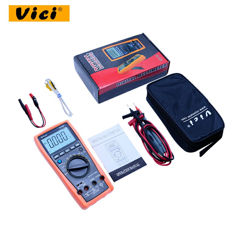 VICI VC99 LCD Digital Multimeter 1000V AC DC resistance capacitance meter +Thermal Couple thermometer tester with pouch bag vici vc99 auto range digital multimeter dmm 1000v ac dc ammeter voltmeter resistance temperature tester capacitance meter lcd
