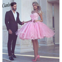 Pink 2019 Homecoming Dresses A line Sweetheart Knee Length Tulle Lace Beaded Elegant Cocktail Dresses