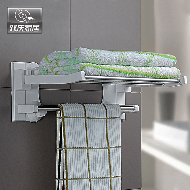 SQ1905 40cm Suction Cup Portable Bathroom Standing Foldable Towel Rack  Bathrobe Rack For Hotel With Towel