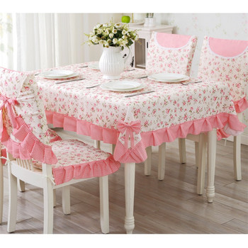 Lace Decor Table Cloth For Wedding 13 pcs/set Pink Green Tablecloth Kitchen Dining Chairclothes Four Size Thicken Tablecover