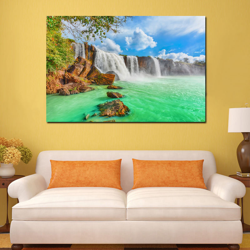Waterfall Beautiful Dry Nur Vietnam Nature Landscape KB810 Living Room Home Wall Modern Art Decor Wood Frame Fabric Posters In Painting Calligraphy From