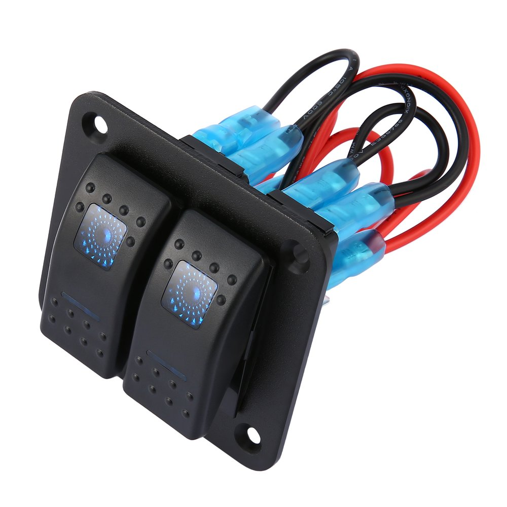 CARCHET 3GANG Waterproof Aluminum Marine Boat LED Rocker ON//OFF Switch Panel