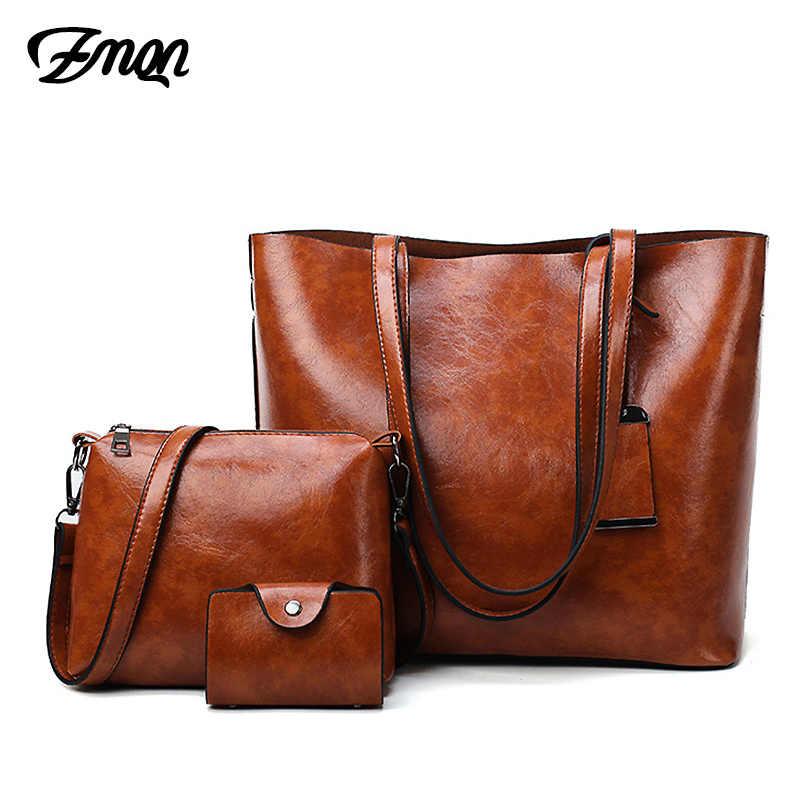 Женский набор сумок из восковой кожи, Женские винтажные сумки, чехол для мусора дамские сумки, большая сумка-мешок на плечо C611