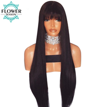 FlowerSeason Straight Glueless Brazilian Full Lace Human Hair Wigs With Bangs Non-Remy Hair For Black Woman 130% Density
