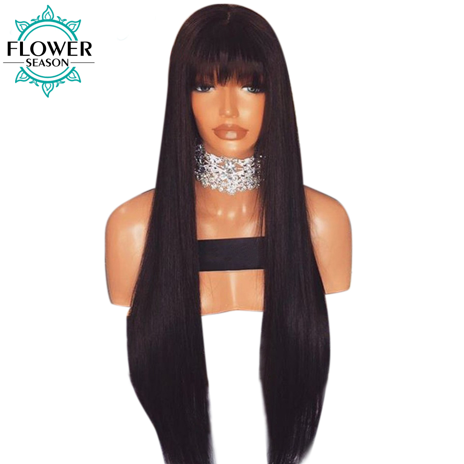 FlowerSeason Straight Glueless Brazilian Full Lace Human Hair Wigs With Bangs Remy Hair For Black Woman 130% Density