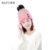 BEFORW New Korean Version Of The Mixed Hair Ball Knitting Hat Labeling H Standard Autumn And