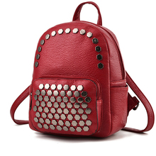 Women Backpack Leather Bag Rivets Sac A Dos Feminine School Bags For Teenager Girls Casual Small Big Bagpack Fashion