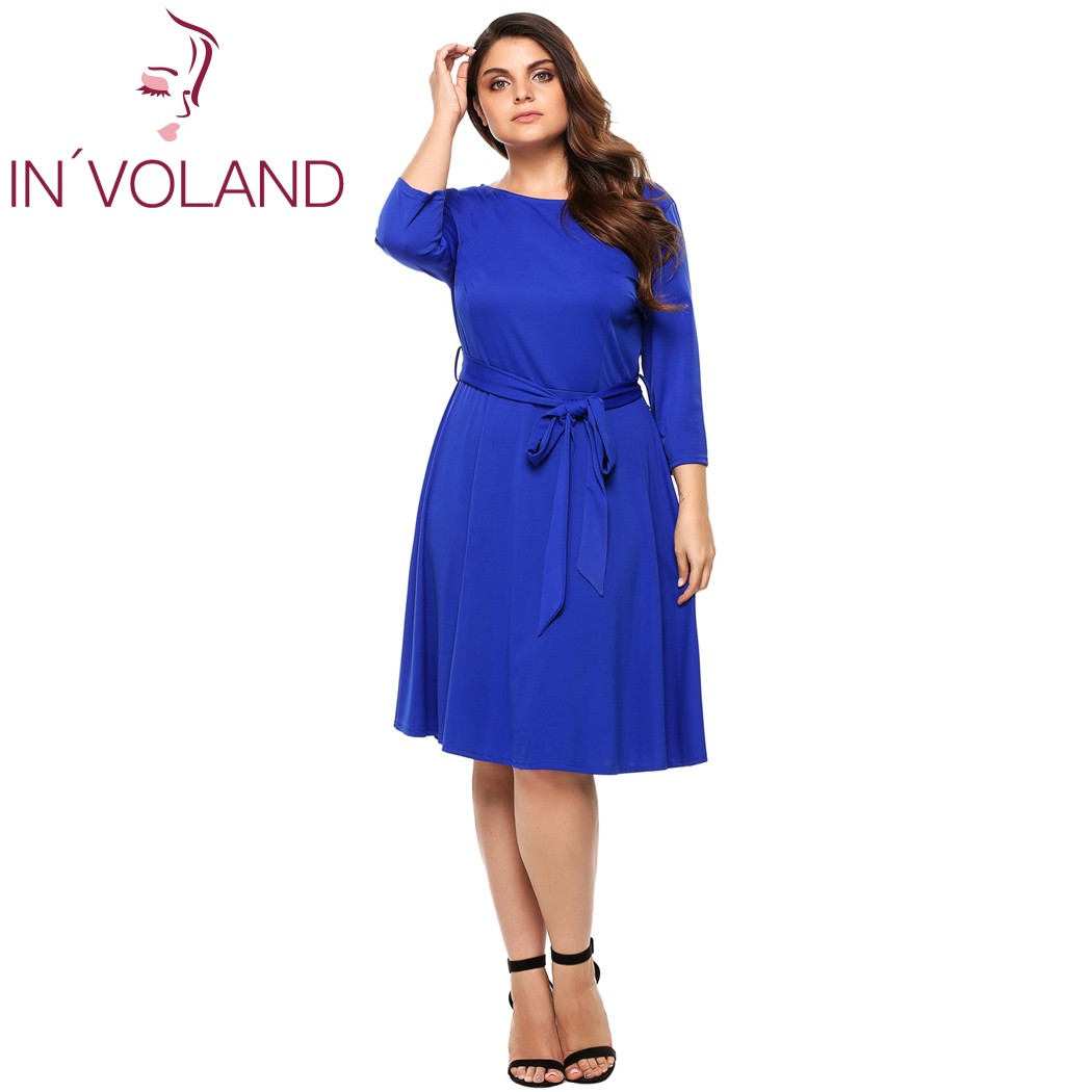 IN'VOLAND Women Dress Summer Plus Size Casual 3/4 Sleeve
