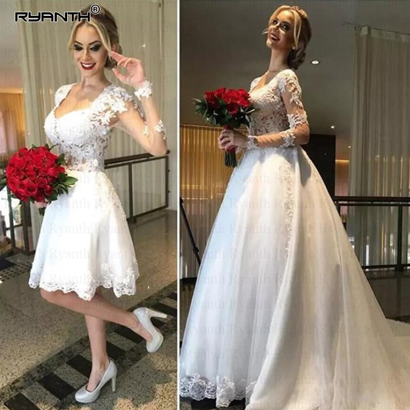 Vestido De Noiva 2 in 1 Long Sleeves Wedding Dresses Illusion Back Lace Appliques Bridal Dress