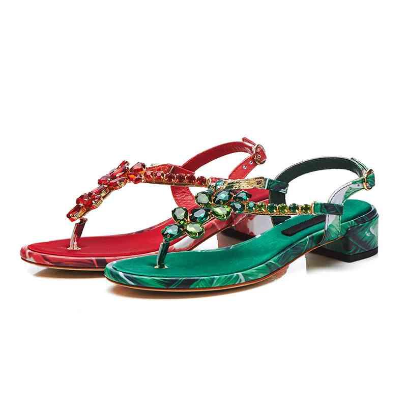 Véritable rouge Diamant Cuir 2018 Femmes Cristal L52 Recommander Sandales Chaussures Bling Faible Brillant Pot Krazing Sangles Boucle Vert D'été Talon wH7Iq
