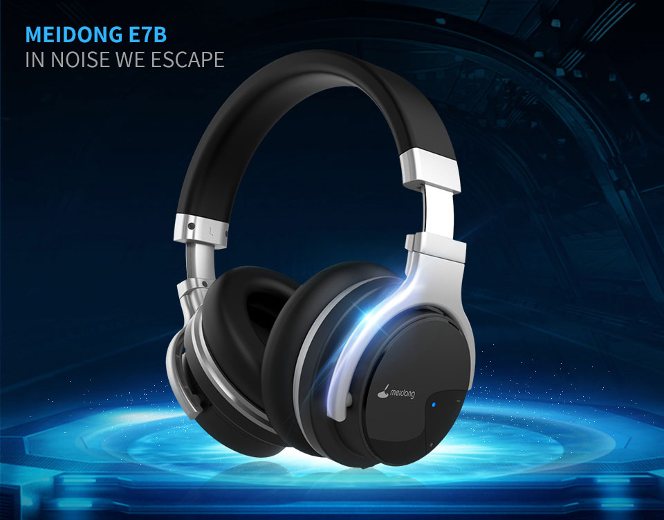 Original Meidong E7B Active Noise Cancelling Bluetooth Headphones Over ear Deep bass Wireless Headset with microphone for phone