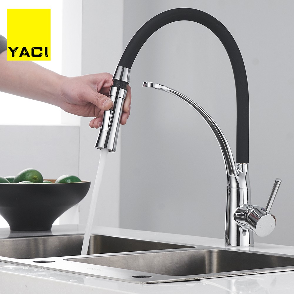 YACI Kitchen Faucets With Rubber Design Chrome Mixer Faucet For Kitchen Single Handle Pull Down Deck Mounted Crane For Sinks